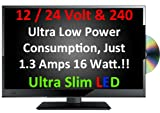 20' Ultra Slim LED Digital Freeview USB Record TV DVD. Caravan HGV Boat. 12 / 24 VOLT DC 12V + 240