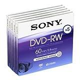 Sony DVD-RW 2.8Gb 8cm 60min Pk 5 rewritable mini discs for camcorders