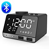Digital Alarm Clock,ANOLE Bluetooth Alarm Clock,Digital Desk Bedside Clock,Clock Radio,Clock Speaker,Indoor Thermometer,Charging Station/Phone Charger with Bluetooth 4.2,Aux in/TF Card/U-Disk Music Speaker, LED Display Dimmer, Snooze Function,12/24 Hour,Time Memory and Dual Port USB for iPhone/iPad/iPod/Android Phone and Tablets(Black)