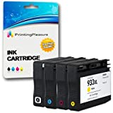 Printing Pleasure SET of 4 Compatible Printer Ink Cartridges for HP Officejet 6100, 6600, 6700, 7110, 7600, 7610, 7612 / Replacement for HP 932XL, HP 933XL / CN053AE, CN054AE, CN055AE, CN056AE
