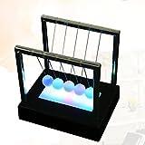 Spritumn Newtons Cradle Balanced Balls with Plastic Base LED Light Up Home Office Toys Home Decor Science Model (Black)