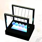 LED Light Newtons Cradle Light Up Kinetic Energy Home Office Science Toys Home Decor Gift (red)