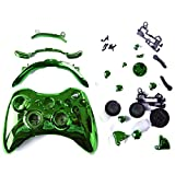 HDE Xbox 360 Wireless Controller Shell Buttons Thumbsticks Replacement Case Custom Cover Kit - Chrome Green