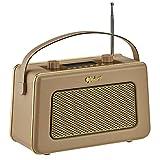Zennox DAB Radio with Alarm Clock Portable Digital FM Radio Vintage Style (Gold & Camel)
