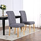 Set of 4 Premium Linen Fabric Dining Chairs Scroll High Back Dark Grey