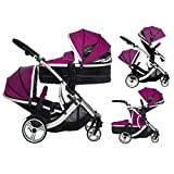Duellette BS Combi Double twin pushchair pram Newborn & toddler, tandem travel system consists of; 1 x Pram carrycot converts to seat unit 1 x toddler/child seat unit, 2 rain covers