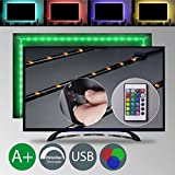 LED TV Backlight | Bias Lighting | 4 LED strips for HDTV | 40 - 55 - 60 inch | USB Powered | Remote Control | Multi Colour | Home theater lighting | Flat screen LED strip | Eco-friendly