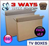 2x 36 Inch TV LCD Double Wall/Double flaps for extra strength Plasma Moving Box Artwork Picture Mirror Frame Removal Cardboard Box