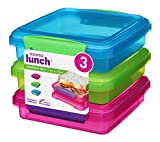 Sistema Lunch Sandwich Box, 450 ml Contrasting Clips, Pack of 3, Green/Pink/Blue, 1.55 x 15 x 12.4 cm