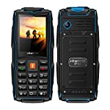 Mobile phone,2017 New VKworld Stone V3 2.4' Sim-Free Mobile phone with Big Button,IP68 Waterproof,Shockproof,Dustproof,LED Flashlight and Triple Sim Triple Standly 2G Unlocked Cell phone for the Elderly/Military(2MP Camera,64MB+64MB,FM Radio,Box Speaker,3000mAh battery,Millet Lamp Gift) (Blue)