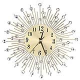 ROSENICE Wall Clock Diamonds Decorative Round Clock Metal Living Room Decor Quiet Quartz Clocks Modern Minimalist Clocks(Gold)