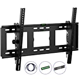 HeraclesMount Slim Tilt TV Wall Mount Bracket For 30-75' LED LCD Plasma 3D Curved Flat Screen Televisions With 1.8m HDMI Cable,Spirit Level & 3 Cable Management Strips,Support Max VESA Size 600x400mm