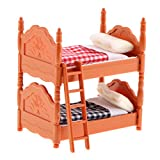MagiDeal 1/12 Scale Dollhouse Miniature Kids Room Furniture Double Bunk Bed Model Set