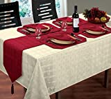 """WOVEN JACQUARD CHECK CREAM TABLE CLOTH 60"""" X 90"""" 4 WINE RED NAPKINS 4 WINE RED PLACEMATS & 1 WINE RED RUNNER"""