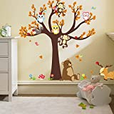 Ufengke Cartoon Forest Animal Owl Monkey Bear Tree Wall Decals,Children's Room Nursery Removable Wall Stickers Murals