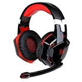 EasySMX ZJB-Headset02-Red Comfortable LED 3.5mm Stereo Gaming LED Lighting Over-Ear Headphone Headset Headband with Mic for PC Computer Game With Noise Cancelling & Volume Control (Black with Red)