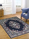 Extra Large Quality Traditional Medallion Design Soft Oriental Rug Mats, Navy Blue - 160 x 220cm (5'x8')