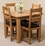 Oslo 90cm Square Kitchen Solid Oak Dining Table + 4 Lincoln Oak Leather Chairs 100% Solid Oak | 90 x 90cm | Handcrafted | Fast & Free Delivery