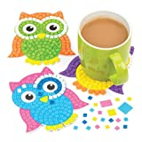 Baker Ross Owl Mosaic Coaster Kits For Kids Perfect For Children's Arts, Crafts And Decorating For Boys And Girls (Pack of 6)