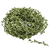 Green Leaf Ribbon MIHOUNION 132FT/40m Leaf Trim Satin Ribbon Artificial Fake Vine Leaves Silk Hanging Vine for DIY Crafts Accessories Wall Wedding Party Flower Wreaths Garland Décor Olive Green