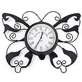 Black Decorative Metal Butterfly Outdoor / Garden Wall Clock