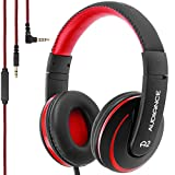 Audiance A2.0 Premium Over-Ear Stereo Headphones with Detachable Cable & 3.5mm Jack   Noise Isolating Wired Headset with Built-In Microphone for Hands Free Calls - Red & Black