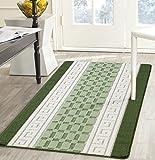 Non Slip,Machine Washable Beautiful Multi colours Rugs All Sizes (Small – Large) (120cm x150cm, Green_Cream_Sage)