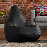 Hi-BagZ Outdoor High Back Bean Bag Chair - Black - Water Resistant, Weather Proof Garden or Indoor Gamer Bean Bags