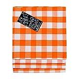 Homescapes - Four - Block Check Napkins - Orange White Check - 100 % Cotton - 18 x 18 Inch ( 45 x 45 cm ) Easy care table Hand Woven Napkins - Washable at 60 Deg Cá