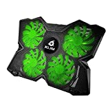KLIM Wind laptop PC Cooler - The Most Powerful - Rapid Cooling Action - 4 Fans Ventilated Support Gamer Gaming Plate Support (Green)