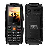 Mobile phone,2017 New VKworld Stone V3 2.4' Sim-Free Mobile phone with Big Button,IP68 Waterproof,Shockproof,Dustproof,LED Flashlight and Triple Sim Triple Standly 2G Unlocked Cell phone for the Elderly/Military(2MP Camera,64MB+64MB,FM Radio,Box Speaker,3000mAh battery,Millet Lamp Gift) (Black)