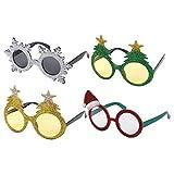 Pack of 4 Assorted Novelty Christmas Fancy Dress Glasses