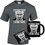Mens Printed I am The Danger Breaking Bad Inspired T Shirt Mug Coaster Gift Set
