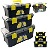 BARGAINS-GALORE 3PC PLASTIC TOOL BOX CHEST SET HANDLE TRAY & COMPARTMENT DIY STORAGE TOOLBOX BAG