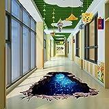 Indexp 3D Removable Bridge Sky Moon Beach Floor/Wall Sticker Vinyl Art Living Room Decors Decals (Moon)
