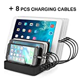 Aizbo USB Charging Station, 8-Port Multiple Device Charging Dock Desk Organizer Detachable Charge Station, 50W 2.4A Universal For iPhone / iPad / Smartphones / Tablets (8 Cables Included)
