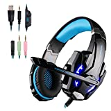 G9000 Gaming Headset, Comfortable Over-Ear Gaming Headphone with Crystal Clear Sound & Volume Control, Stereo Sound Headphone with LED Light & Noise Canceling Mic for PS4, PC, Xbox One Controller (BLUE)