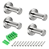 BTSKY 4 Pieces New Stylish Brushed 304 Stainless Steel Wall-Mount Robe Towel Hook Bathroom Lavatory Closets Coat Towel Robe Hook (2inch/5cm)