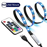 Cammate TV LED Backlight Strip - 2M/6.56ft 120leds RGB Bias Lighting with 20 Colors and 6 Dynamic Mode - Flexible USB LED Strip Lights for Flat Screen TV LCD, Desktop Monitors, Kitchen Cabinets