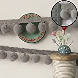 Grey 25m Jumbo Pom Pom Trim/Fringe - Wholesale/Bulk/Discounted Excellent Quality