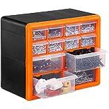 VonHaus 12 Drawer Storage Cabinet Organiser - Black/Orange