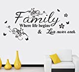 'Family ,where life begins & love never ends.'English Proverbs Wall Stickers Decor Living Room Wall Stickers,Vinyl saying decals for home dorm mural