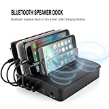 AIZBO 4 Ports USB Charging Station with Bluetooth Speaker,2.4A Desktop Docking Station & Organizer for iPhone,iPad Air/Mini,Samsung Galaxy,Tablets and More(Charging Cables Not Include)