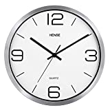 HENSE 12 Inches Modern Stylish Elegant Silent Non-ticking Metal Round Wall Clock, Simple Creative Wall Clock For Living Room Bedrooms Office Kitchens, Operated By Battery HW56 (Silver Frame with White Dial)