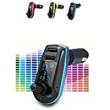 REALMAX Car FM Radio universal Transmitter modulator with LED display dual USB ports 3.5 mm Aux port Music MP3 Player car kit + Remote wireless radio audio adapter universally compatible with all car models All android smartphones iPhones Ipads ipods mp4 players (Blue)