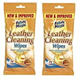 2 x Packs Of Fabric Magic Leather Cleaning Wipes - 24 Wipes Cleans & Protects