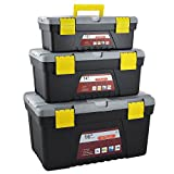 Evelyn Living 3pc Plastic Tool Box Chest Set Handle Tray & Compartment Diy Storage Toolbox Bag