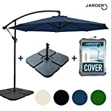 Jarder Parasol Set - 3m Cantilever Garden Parasols with Base & Cover - Open Ratchet & Tilt Function (Blue)