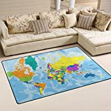 JSTEL INGBAGS Super Soft Modern Highly Detailed World Map Area Rugs Living Room Carpet Bedroom Rug for Children Play Solid Home Decorator Floor Rug and Carpets 31 x 20 Inch