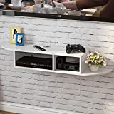 Tribesigns 2 Tier Modern Wall Mount Floating Shelf TV Console 43.3'x9.4'x7' for DVD Players/ Cable Boxes / Routers/ Remotes/ Game Consoles (White)